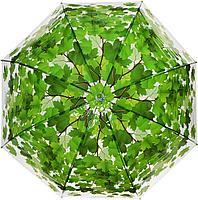 """Прозрачный зонт """"Листопад"""", зеленый"""