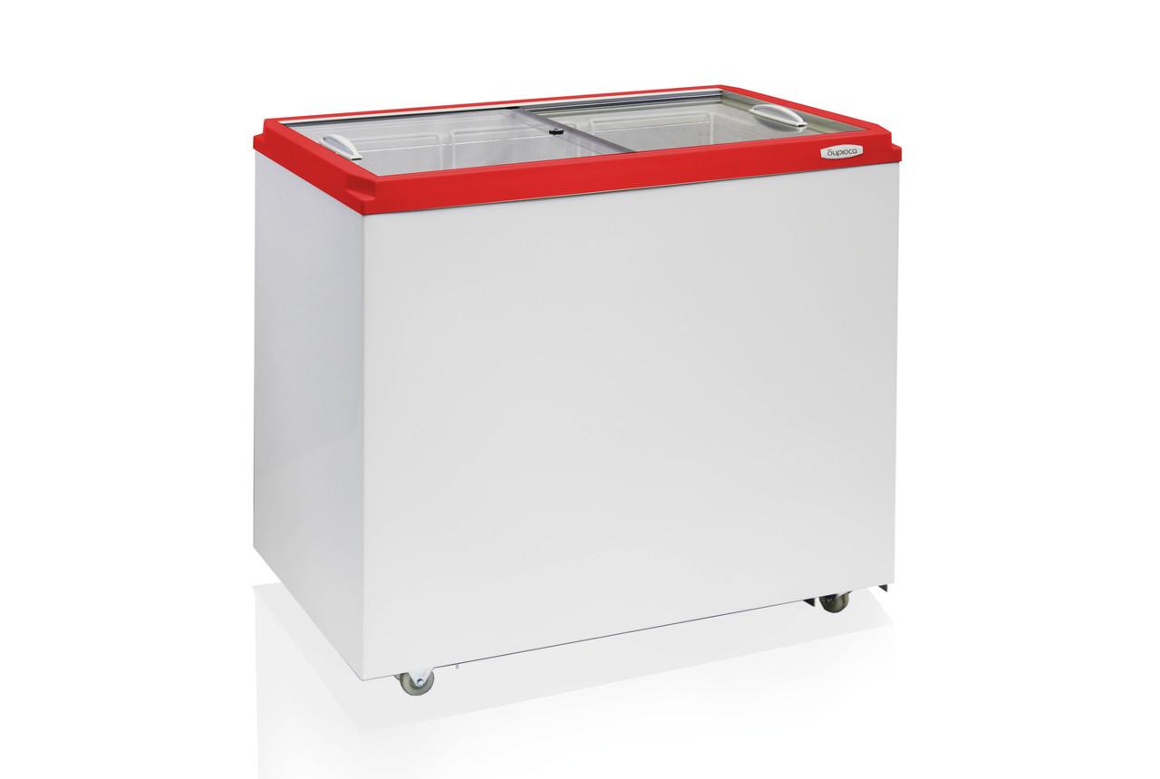 Морозильный ларь БИРЮСА  H260Z (794*935*632 мм) прямая стеклянная крышка красная рамка
