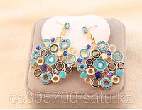 Серьги голубые круглые