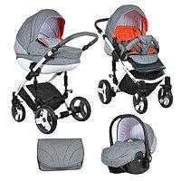 Коляска Tutis Zippy Mimi Plus Premium 3 в 1 серый лен/оранж/орнамент