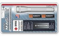 Фонарь MINI MAGLITE 2xAA (14 Lum)(с 2-мя батарейками и чехлом)(серый)(в блистере) R34356
