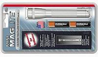 Фонарь MINI MAGLITE 2xAA (14 Lum)(с 2-мя батарейками и чехлом)(серебристый)(в блистере) R34321