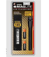 Фонарь MINI MAGLITE LED 2xAA (77 Lum)(с 2-мя батарейками и чехлом)(черный)(в блистере) R 34465