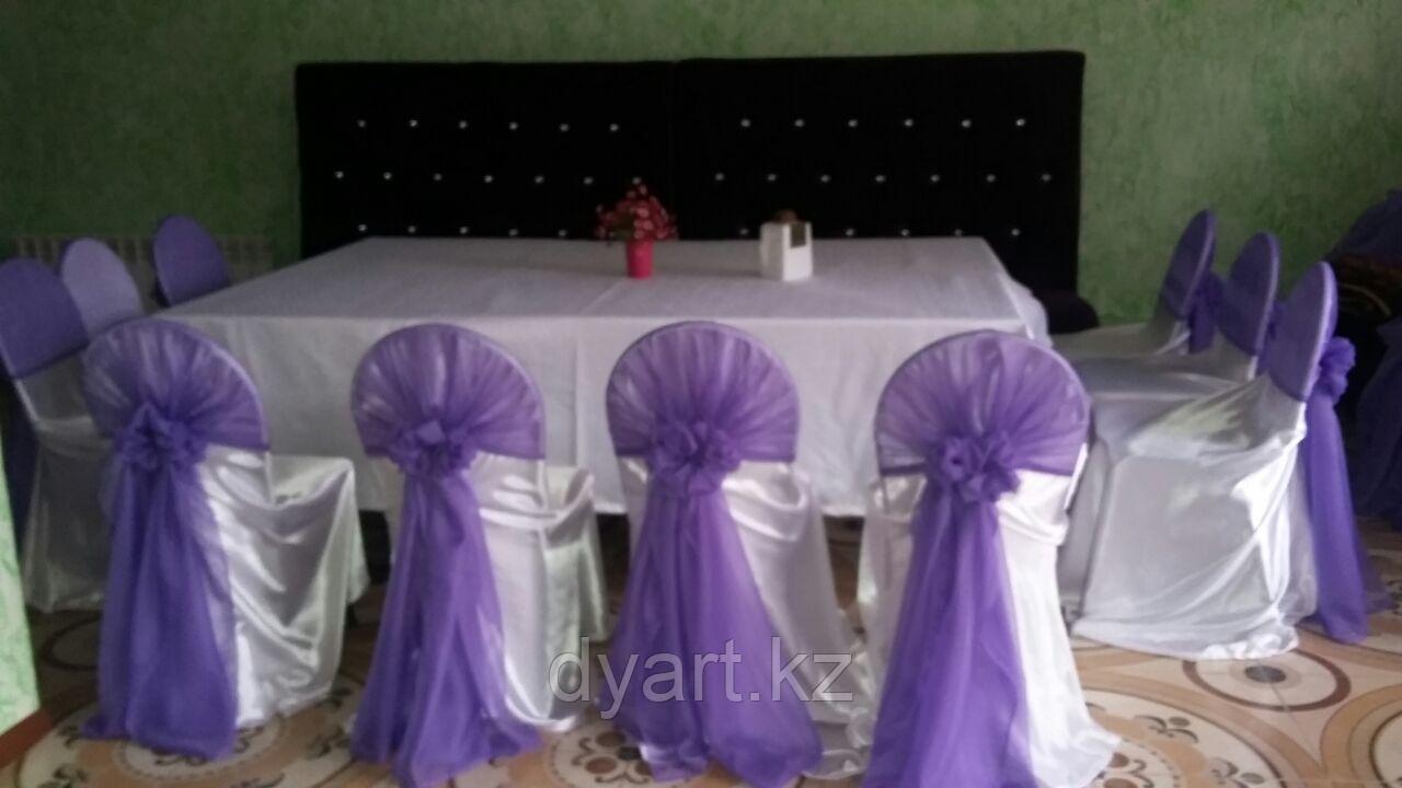 Фиолетовые банты на стулья в аренду
