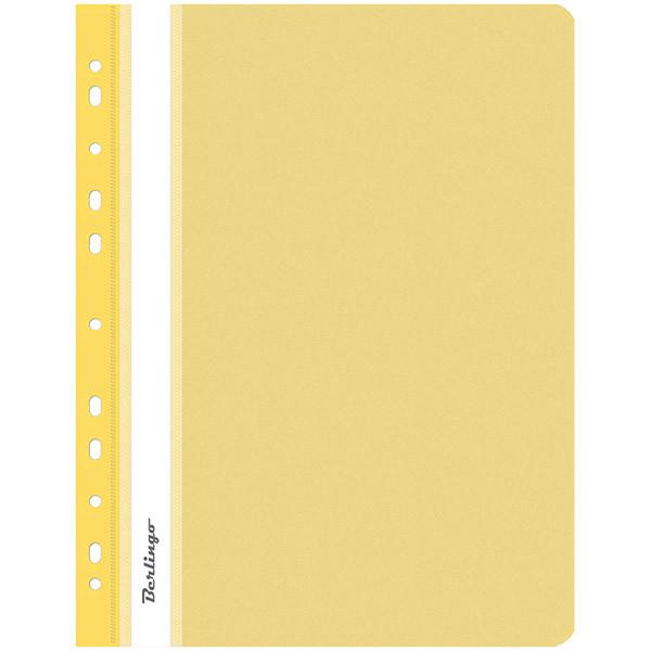 Папка-скоросшиватель пластик, с перфорацией, А4, 180 мкм, желтая.