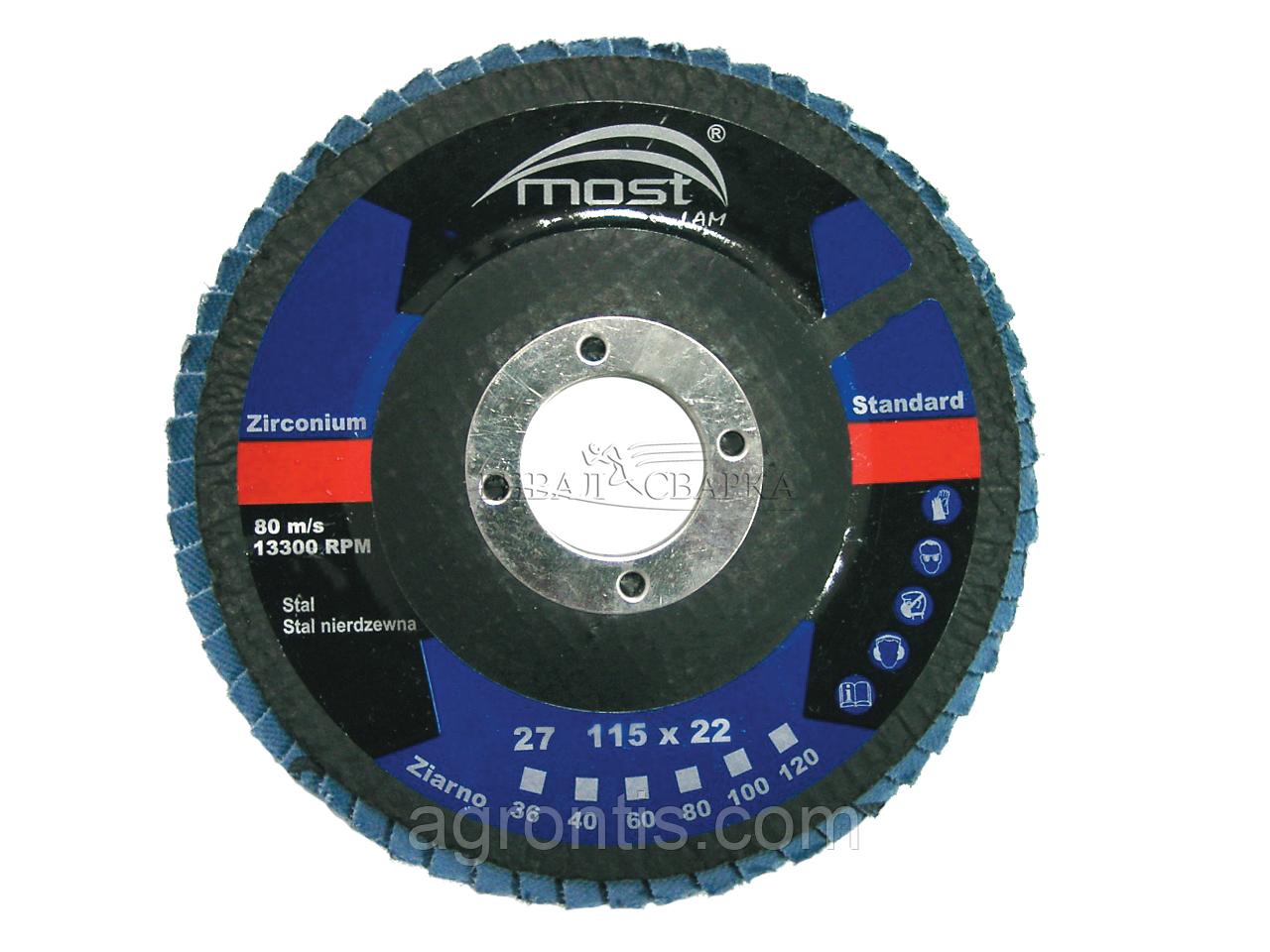 Круг лепестковый MOST 125х22мм Zircon 29E P80