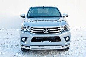 Защита передняя двойная (КРУГ+ОВАЛ) D 76,1/75х42 Toyota Hilux Revo 15+