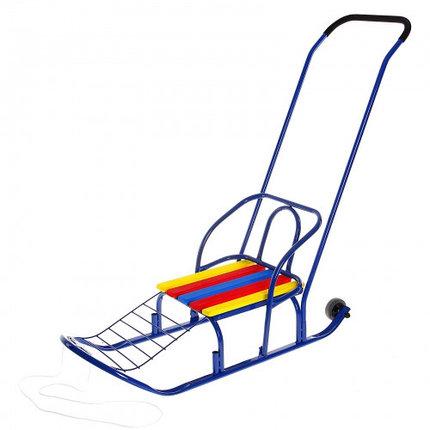 "Санки ""Кирюша-7к"" с толкателем, колёсиками, цвет синий, МИКС, фото 2"