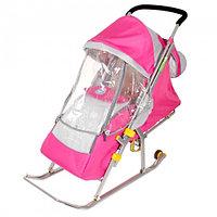 """Санки-коляска """"Ника детям 4"""" с колёсами, цвет розовый"""