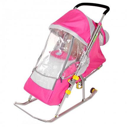 """Санки-коляска """"Ника детям 4"""" с колёсами, цвет розовый, фото 2"""