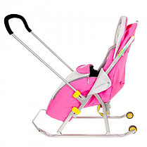 """Санки-коляска """"Ника детям 4"""" с колёсами, цвет розовый, фото 3"""