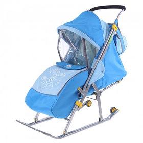 """Санки-коляска """"Ника детям 4"""" с прорезиненными колёсами, цвет бирюза-синий"""
