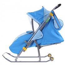 """Санки-коляска """"Ника детям 4"""" с прорезиненными колёсами, цвет бирюза-синий, фото 3"""