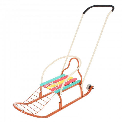 """Санки """"Кирюша-4вк"""" с толкателем, с колёсиками, цвет оранжевый"""