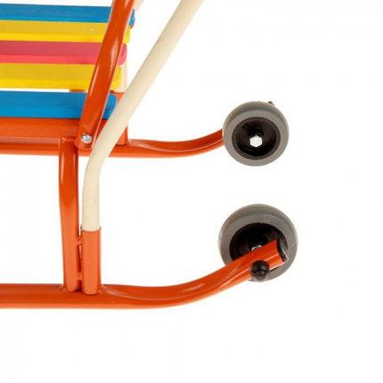 """Санки """"Кирюша-4вк"""" с толкателем, с колёсиками, цвет оранжевый, фото 2"""