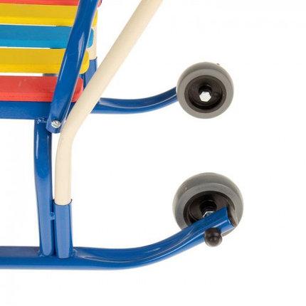 """Санки """"Кирюша-4вк"""" с толкателем, с колёсиками, цвет синий, фото 2"""