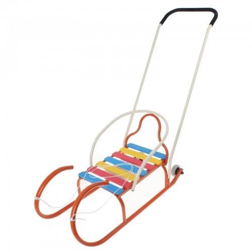"""Санки """"Лео-4вк"""" с колёсиками, с толкателем, цвет оранжевый"""
