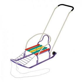 """Санки """"Кирюша-4вк"""" с толкателем, с колёсиками, цвет фиолетовый"""
