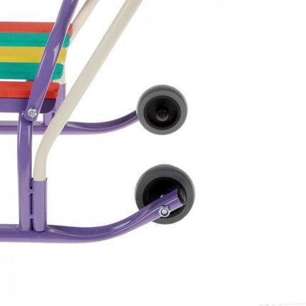 """Санки """"Кирюша-4вк"""" с толкателем, с колёсиками, цвет фиолетовый, фото 2"""