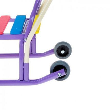 """Санки """"Лео-4ВК"""" с толкателем, с колесами, цвет: фиолетовый, фото 2"""