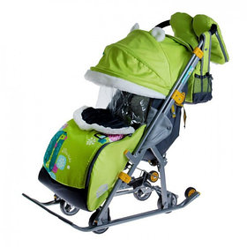 """Санки-коляска """"Ника детям 7-2. Коллаж-жираф"""" с выдвижными колёсами, цвет лимонный"""
