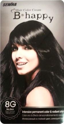 B-happy Hair Color Cream Стойкая крем-краска для волос 8G черный шелк