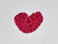 Сердце вязаное (2 см.) - малиновое