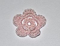 Цветок пятилепестковый вязаный (3 см.) - розовый