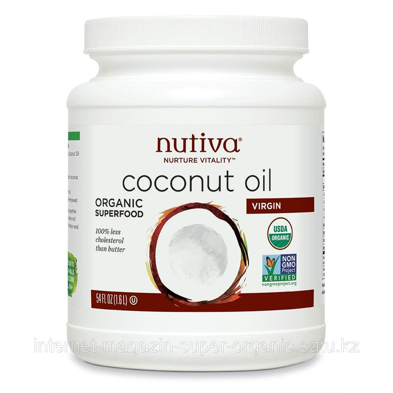 Органическое кокосовое масло первого отжима нерафинированное, 1,6 л, Nutiva