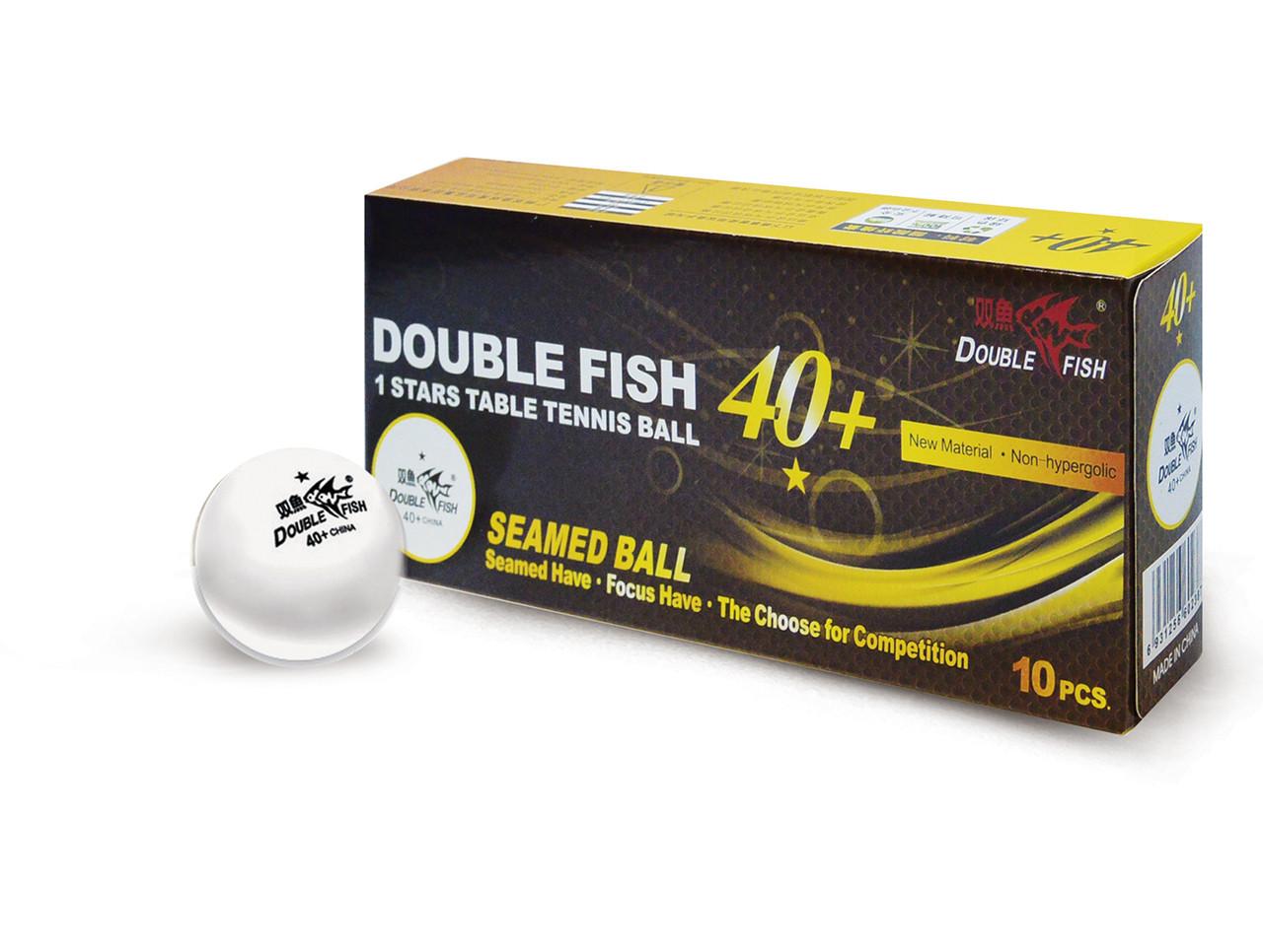 DOUBLE FISH 40+ 1*, 10 мячей в упаковке, белые.