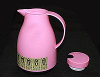 Термос со стеклянной колбой 1л, розовый