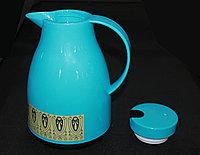 Термос со стеклянной колбой 1л, голубой