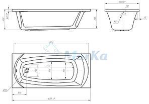 Акриловая гидромассажная ванна. Элеганс 165*70 см. (Общий массаж), фото 2