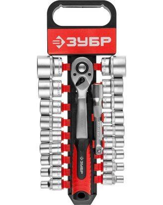 Набор инструментов торцовые головки ЗУБР 27647-H20, предназначен для монтажа и демонтажа резьбовых соединений