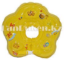 Детский круг музыкальный с погремушкой для купания на шею (желтый)
