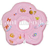 Детский круг музыкальный с погремушкой для купания на шею (розовый)