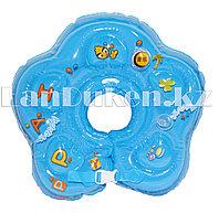 Детский круг музыкальный с погремушкой для купания на шею (голубой)