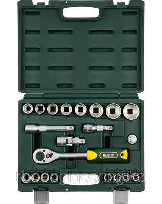Набор инструментов торцовые головки KRAFTOOL 27882-H22_z02, предназначен для монтажа и демонтажа резьбовых сое