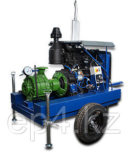 Мотопомпа дизельная на колесном шасси для полива полей