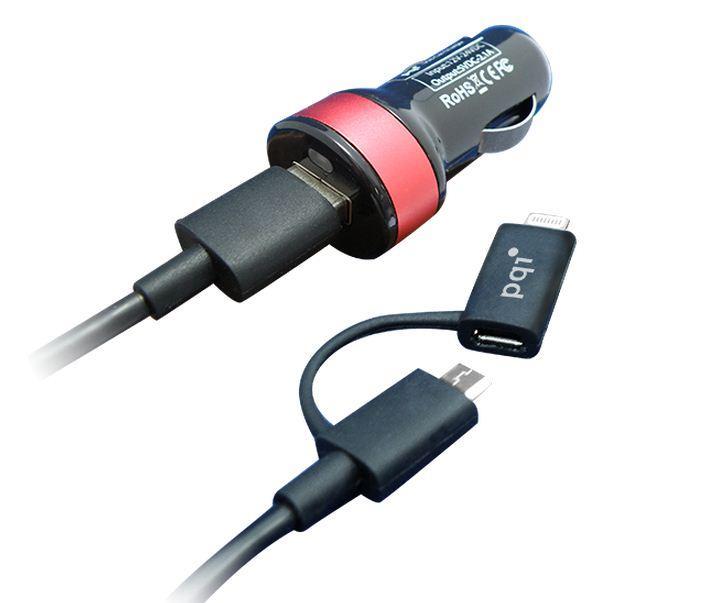 Зарядное устройство автомобильное PQI I-CHARGER кабель в комплекте (MICRO USB + LIGHTNING)
