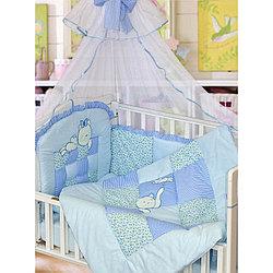Комплект в кроватку Золотой Гусь Кошки-Мышки 7 предметов голубой