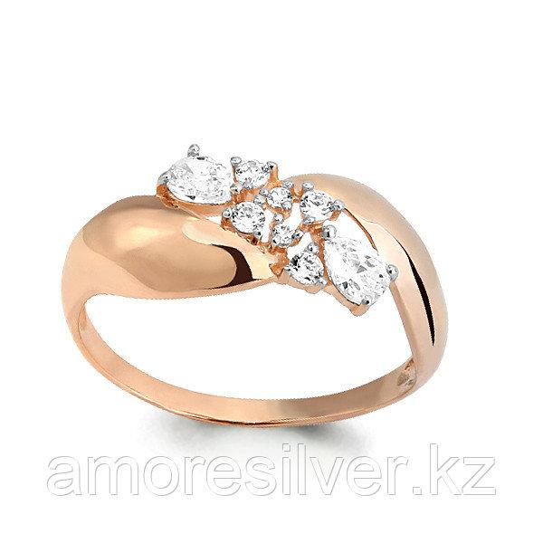 Кольцо Аквамарин серебро с позолотой, фианит, геометрия 64777А#