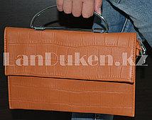 Клатч с металлической ручкой коричневый H020