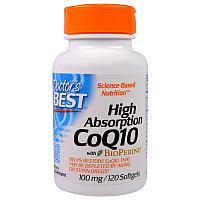 Doctor's Best Коэнзим Q10, 100 мг, 120 капсул с биоперином для лучшего усвоения .