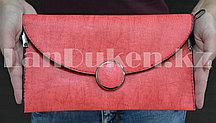Клатч с декоративной застежкой-пуговицей красный 9070