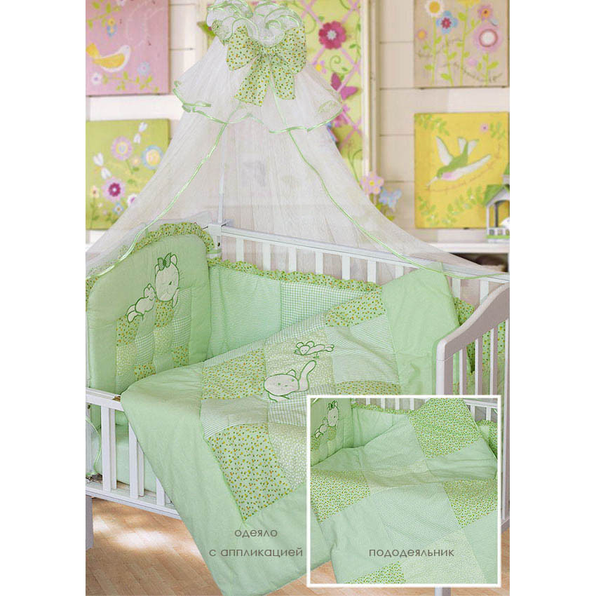 Комплект в кроватку Золотой Гусь Кошки-Мышки 7 предметов зеленый