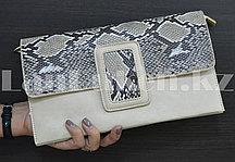 Клатч бежевый с отделкой под кожу питона H011