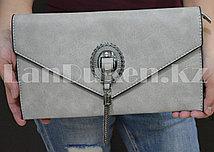 Клатч с декоративной брошью серый 9068