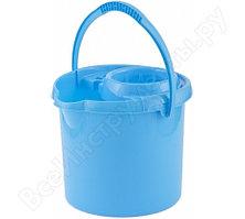 Круглое пластмассовое ведро с отжимом 12л, голубое Elfe Россия 92964