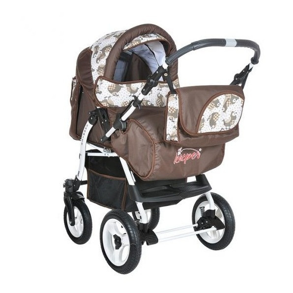 Kasper: Коляска трансформер Candice Птицы шоколадный (колёса надув, моск. сетка сумка дождевик)